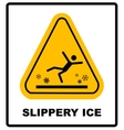 Caution watch for ice sign background vector image