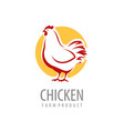 chicken logo or label farm animal symbol vector image vector image