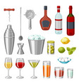 cocktail bar set essential tools glassware vector image vector image