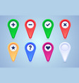 collection map pins in different colors and vector image vector image