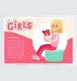 cute blonde girl sitting and reading book girls vector image vector image