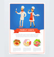 family chefs in kitchen uniform and menu with vector image vector image