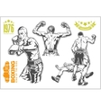 Fight between two boxers - set of monochrome vector image vector image