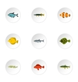 Fish icons set flat style vector image vector image