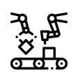 gathering conveyer artificial sign icon vector image vector image