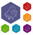 grand piano icons hexahedron vector image vector image