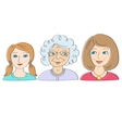 Granddaughter mother grandmother vector image vector image