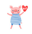 greeting card with cute piglet sweet pig says hi vector image vector image