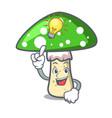 have an idea green amanita mushroom mascot cartoon vector image