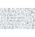 healthy lifestyle thin line banner vector image