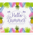 hello summer holiday lettering design vector image