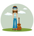 hippie man with a guitar cartoon vector image vector image