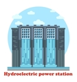 Hydroelectric power station and water falling vector image vector image