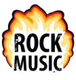inscription rock music in the fire vector image vector image