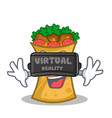 kebab wrap character cartoon with virtual reality vector image vector image