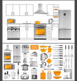 kitchen collection of appliances and kitchenware vector image