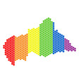 lgbt spectrum pixel central african republic map vector image