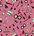 Make-up Cosmetics Seamless Pattern Color vector image vector image