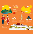 map of the china and landmark icons for traveling vector image vector image