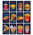 menu cards templates set for fastfood meals vector image vector image