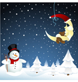 moon and snowman winter vector image