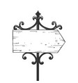 old urban road signpost engraving vector image vector image