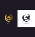 phoenix gold in circle logo stylized golden flying vector image vector image