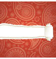 Red torn paisley paper vector image vector image