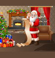 santa reads prize data in the living room vector image