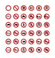 set forbidden road signs isolated on white vector image vector image