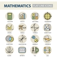 set modern thin line icons for math vector image