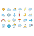 Set of 24 Weather forecast icons vector image vector image