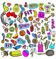 sports hand draw icon and elements fitness and vector image vector image
