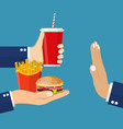 stop fast food junk snacks concept vector image