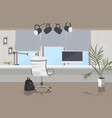 stylish workplace with computer monitor modern vector image vector image