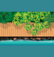 top view wooden bridge on beach on island vector image vector image