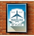 Travel by plane logo or label template with vector image