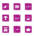 vintage food icons set grunge style vector image
