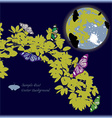 Yellow leaf and butterfly with full moon vector image vector image
