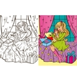 Colouring Book Of Girl Unpacks Gifts vector image