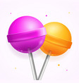 realistic round sweet candy lollipops set vector image