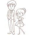 A simple sketch of a couple in formal attire vector image vector image