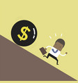 african businessman get away money ball down vector image vector image