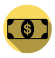 bank note dollar sign flat black icon vector image vector image