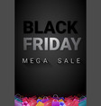 black friday mega sale poster with shopping bags vector image vector image