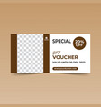 brown gift voucher design template vector image vector image
