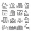 buildings and houses line icons on white vector image vector image