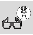 camera film vintage with movie glasses vector image