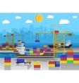 cargo ship container crane truck port logistics vector image vector image