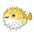 cartoon of a cute happy smiling puffer fish vector image vector image